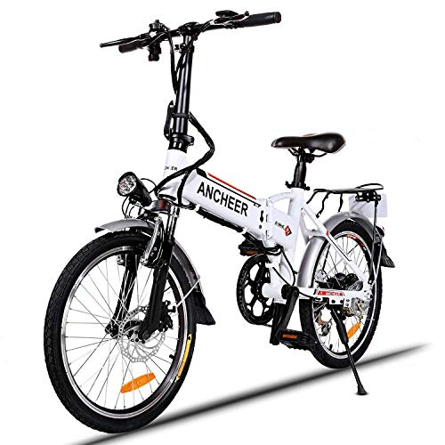 """ANCHEER Elektrofahrrad, Faltbares E-Bike für Erwachsene, Faltrad, 20/26 Zoll Klapprad Pedelec mit Lithium-Akku (250W, 36V), Elektrofahrräder mit 7-Gang Shimano Nabenschaltung (20\"""" Weiß)"""