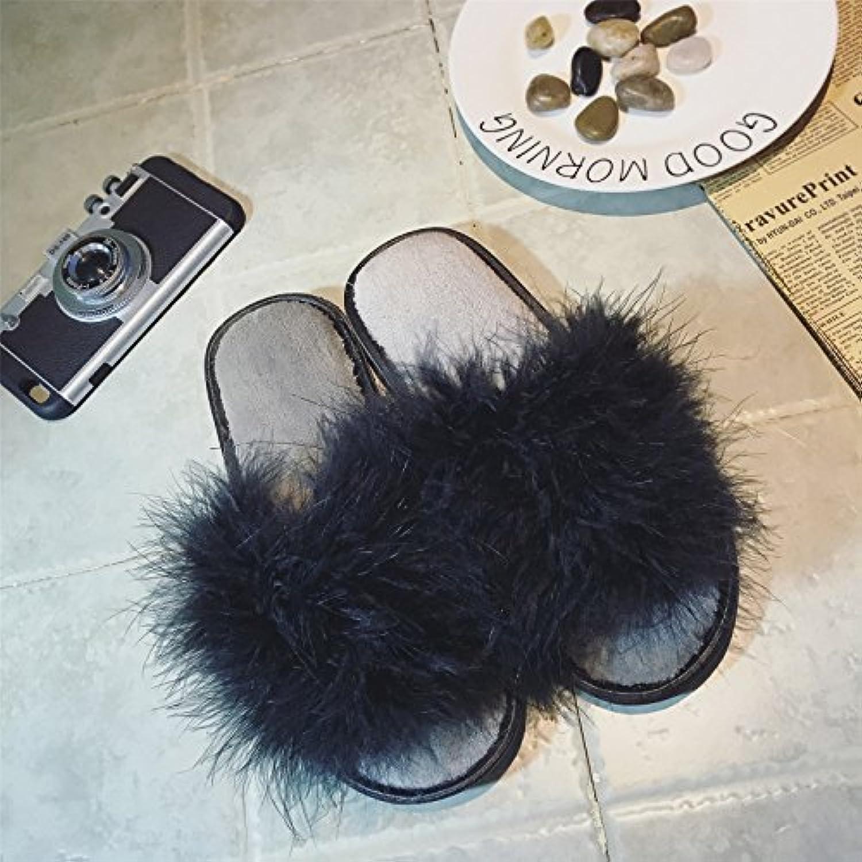 LaxBa Las damas cachemir tejidos de algodón negro zapatillas de casa antideslizamiento41 para 40,41