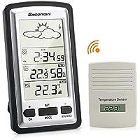 Excelvan WH1281 - LCD Estacion Meteorologica Inalambrica (Pronostico del Tiempo, con 1 Sensor, Minima o Maxima Humedad y Temperatura, para Jardin Invernadero Casa)