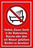 Aufkleber - Verbot Gerät Badewanne Dusche oder Wasserbecken zu benutzen - entspr. DIN ISO 7010 / ASR A1.3 – 15x10cm – S00355-055-D +++ in 20 Varianten