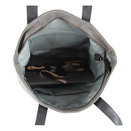 OBC sportliche Damen Stern Tasche DIN-A4 Henkeltasche Handtasche in 2 Varianten Canvas Baumwolle CrossOver Schultertasche Umhängetasche Shopper (Army 42x38x13 cm) Army 42x38x13 cm