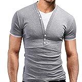 Fanessy 2 in 1 Shirt Slim Fit Poloshirt Hemd T-Shirt