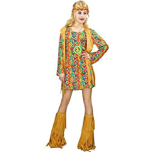 SEA HARE Damen 60er 70er Jahre Retro Hippie Kostüm ()