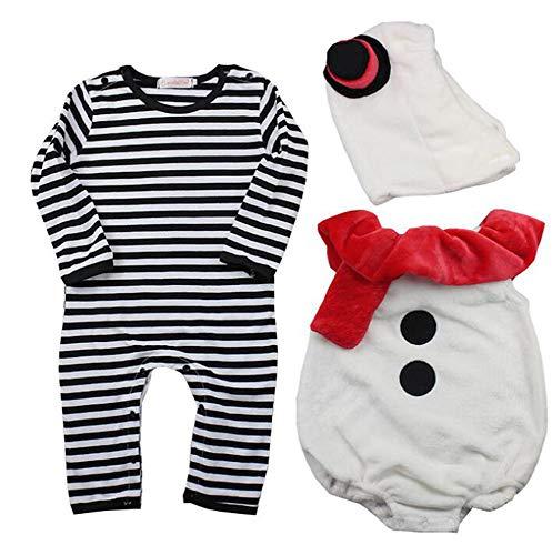 Bingotrade Baby-Kleinkind-weihnachtswinter-Warmer Weihnachtsschneemann-Spielanzug-kostüm 3pcs (Sally Kostüm Kind)
