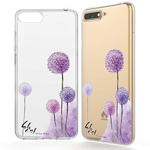 NALIA Hülle kompatibel mit Huawei Y6 (2018), Ultra-Slim Handyhülle Silikon Motiv Case Crystal Schutzhülle Dünn Durchsichtig, Etui Handy-Tasche Back-Cover Transparent Bumper, Designs:Dandelion Pink
