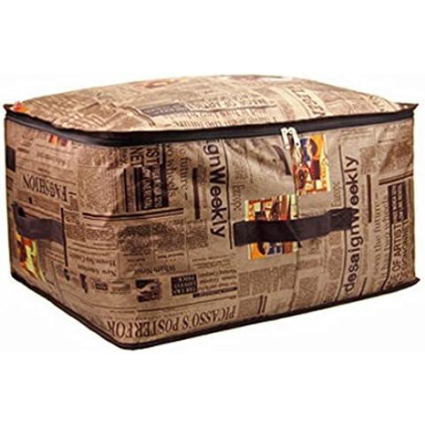 Moolecole Tela De Oxford Casa Acolchar Ropa Bolsa Ahorradoras De Espacio Estuche De Cremallera Contenedor Almohada Caja Inglés Periódico 63*43*20cm