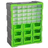DURHAND Cassettiera Box Porta Minuteria per Officina con 30 Cassetti e 9 Scatole Grandi in Plastica 38 × 16 × 47.5cm