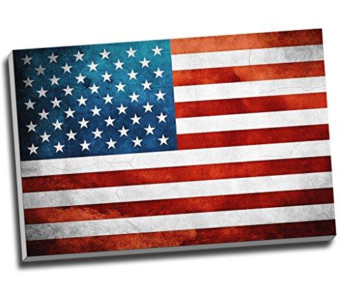 American Flag Grunge Wall Art Print auf Leinwand Bild Kunstdruck auf Leinwand groß A176,2x 50,8cm (76.2cm x 50.8cm) (Flag-bild American)