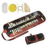 Kulannder 46 Stück Ton-Modellierwerkzeuge Tonwaren-Set Schnitzwerkzeuge Handwerk Anfänger Geschenk Einfach zu bedienen Ideal für Tonbildhauerei Modellieren Schnitzen Schaben Formung Glätten