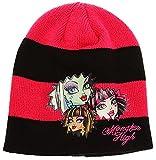 erdbeerloft- KIDS Mädchen Monster High Mattel Winter-Mütze, Patch, Alter 2-3, pink-schwarz