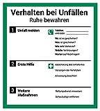 Schild Aushang 'Verhalten bei Unfällen', 18x20cm, mit UV-Schutz, PVC-Aufkleber,...