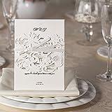 Biglietti di invito per party o matrimonio, con inserti + buste, confezione da 10, con fascia di fiori in nastro di raso con taglio laser