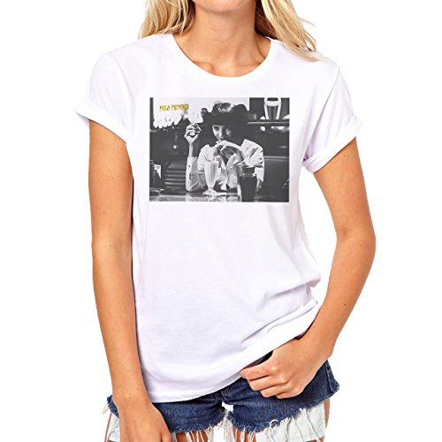 Pulp Fiction Ouentin Tarantino Movie Grey Pose Scene Background Damen T-Shirt  Weiß