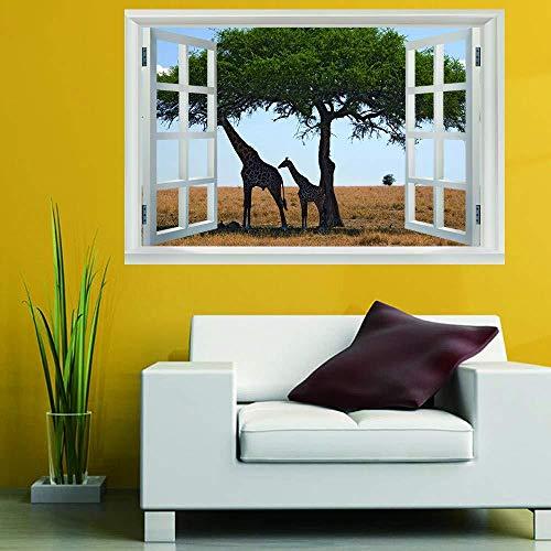 3D Wandbild Fototapete Fenster Bilder Fensterblick,Landschaftsbaum,Hd Poster Abnehmbare Wandtattoo Schlafzimmer Dekoration Kunstdruck Modern Tapete - 6551 Vinyl