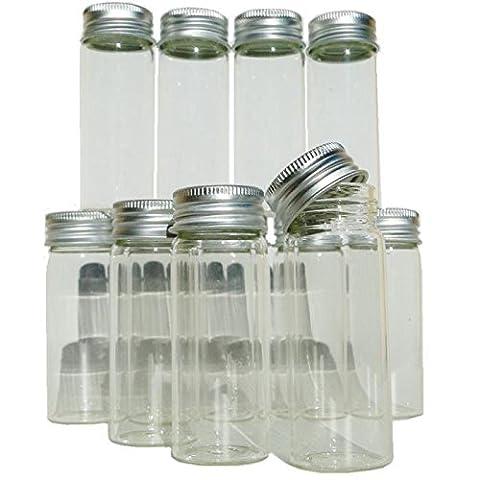 Lot 12 minis bouteilles flacons 8cm en verre avec bouchon à vis tube éprouvette tube à essai ou échantillons