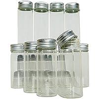 Conjunto de 12minifrascos de 8 cm, de vidrio, con tapón de rosca, frasco de probeta, tubo de ensayo, muestra