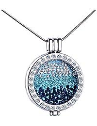 Infinite U Unique Womens Collar Azul Océano intercambiables colgante camafeo de cristal aleación Sweater Cadena,