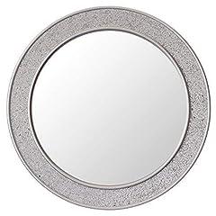 Idea Regalo - Glamour by Casa Chic Specchio Mosaico Rotondo - Legno - Grandi - 60 cm di Diametro - Argento