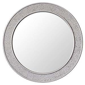 Glamour by Casa Chic Specchio Mosaico Rotondo - Legno - Grandi - 60 cm di Diametro - Argento