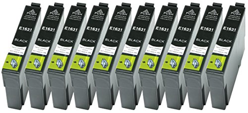 Preisvergleich Produktbild 10 XL Druckerpatronen nur Schwarz ersetzen Epson T1631 Nr.16 geeignet z.B. für Epson WorkForce WF-2010, WF-2510, WF-2520, WF-2530, WF-2540, WF-2630, WF-2650, WF-2660, WF-2750, WF-2760