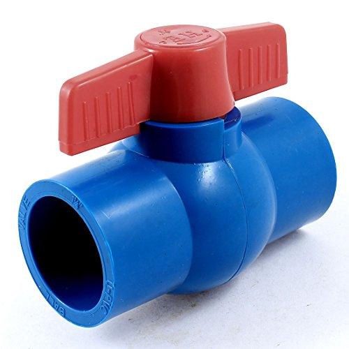 sourcingmap® Bettüberwurf voller Port Santär 40 mm x 40 mm Enden Kugelhahn PVC Blau und Rot (1/4 Pvc-slip)