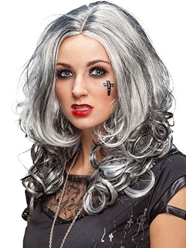 Damen Perücke grau-schwarz meliert Hexe Vampirin ()