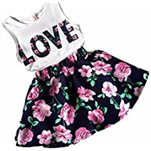 Conjuntos de top y falda Koly - Mono Niñas, Body para bebés, top y Flor falda (140)