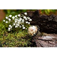 Anello di vetro e petali di Gypsophila - gioielli fatti a mano fiori naturali secchi - 20mm - regalo donna - regali per lei - Regalo di Natale - Black Friday
