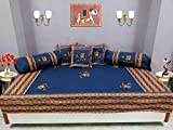 Bright Cotton Diwan Set Design Embroidery Patchwork Elephant Divan Set Cotton Blue DIVAN104-5