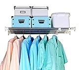 Baoyouni, mensola regolabile per armadio, funge anche da divisorio orizzontale per creare da soli nuovi spazi in bagno, cucina e camera da letto, Ivory & Silver, Extendable Length: 60-100cm