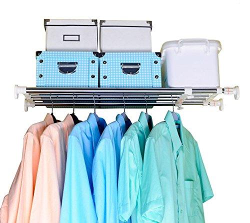 Einlegeböden Schrankregal Einstellbare Lagerregal Kleiderschrank Schrank Divider DIY Organizer Stange Kleiderstangen Regalteiler für Küche Badezimmer Schlafzimmer 60-100cm ()