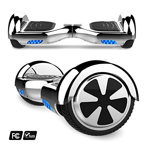 MARKBOARD 6,5zoll Hoverboard Elektro Scooter Selfbalance Scooter für Kinder, 700W Motor, Bluetooth Musik Lautsprecher (6,5Chrom Silver)