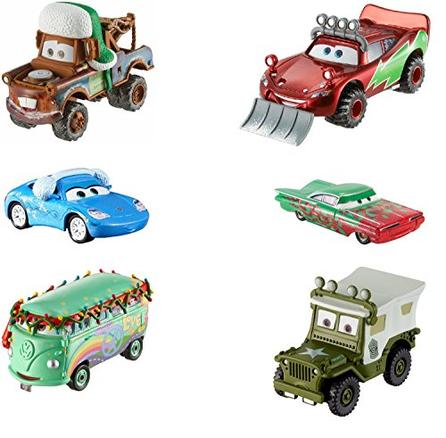 Mattel Disney Cars FBG37 - Disney Cars 3 Vacances Noël Die-Cast 6-pack - Joyeux Noël Véhicule Fillmore, Snowplow Lightning Mcqueen, Sergent, Sally, Martin et Ramone