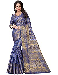 INDIAN BEAUTIFUL WOMEN'S ETHNIC WEAR JARI BORDERED KANJIVARAM COTTON SILK BLUE COLOUR SAREE.