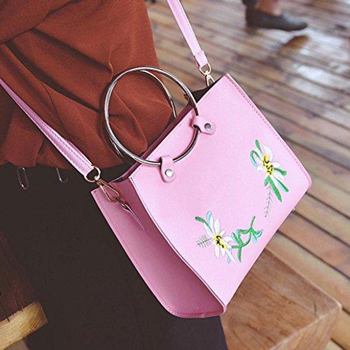 BZLine® Frauen Stickerei Tasche Handtasche Small Body Taschen, 16cm*20cm*9cm Pink