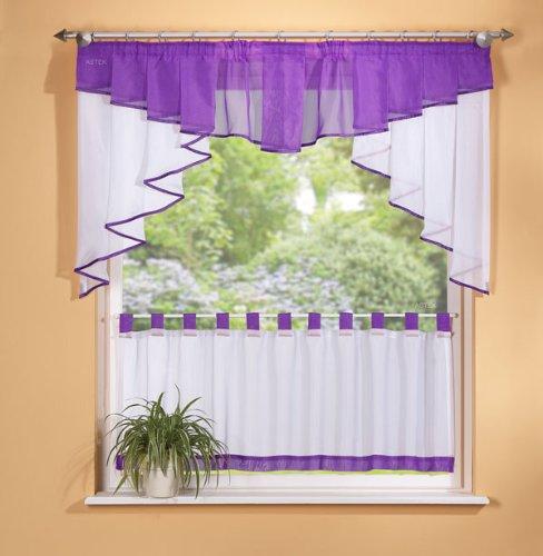 Scheiben Gardinen Set, violett, 2-teilig Rüsche (Rüschen-gardinen Lila)