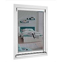 1PLUS Standard Insektenschutz-Rollo für Fenster, 130 x 160 cm, individuell kürzbar, weiß