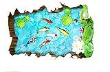 Vitila Mode Aufkleber Wohnkultur Wohnzimmer Schlafzimmer Bad 3D Wandaufkleber Teichkarpfen PVC Abnehmbare Wandbilder Wandtattoos