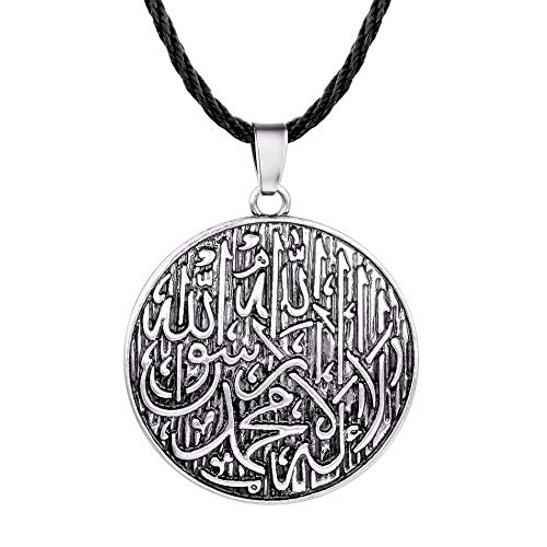 DADATU Halskette Für Männer Antique Arabischer Name Halskette Männer Männer Muslimisch Graviert Shahada Pendant Allah Vintage Ethnic Necklace Schmuck (Arabische Kostüm Name)