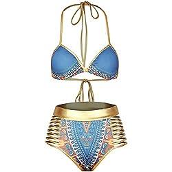 TDOLAH Damen Bohemian Gold ägyptisch Neckholder Bikini-Set mit hoher Taille (L (EU 38-40), blau)