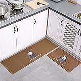KaO0YaN Estera de Puerta, Soporte Antideslizante, Interior/Exterior Alfombras de Cocina, Puerta de Entrada, Almohadilla Absorbente, Juego de alfombras de baño, marrón 3