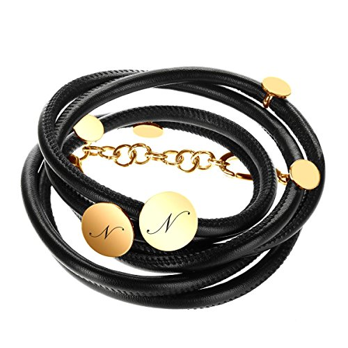 Elegante bracciale avvolgibile in pelle nero-oro con custodia regalo con incisione a scelta