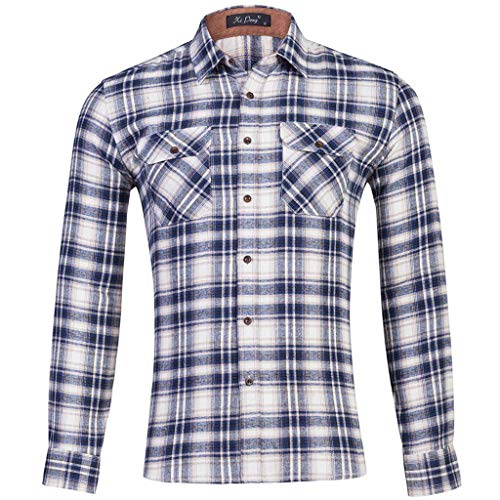 UINGKID Hemd Herren Slim-Fit Langarm-Hemden Plaid Business Umlegekragen Shirts