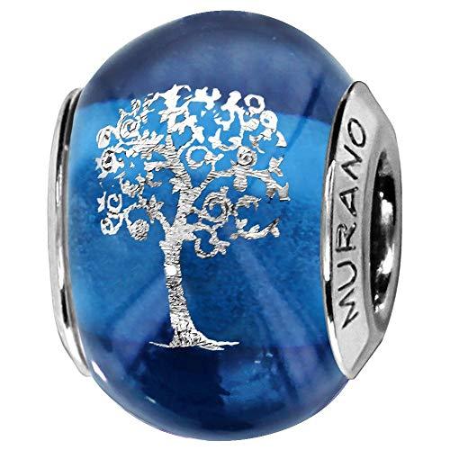 So Chic Joyas© Charm cristal de Murano azul árbol de la vida plata 925-Compatible con Pandora, Biagi, Chamilia, Biagi