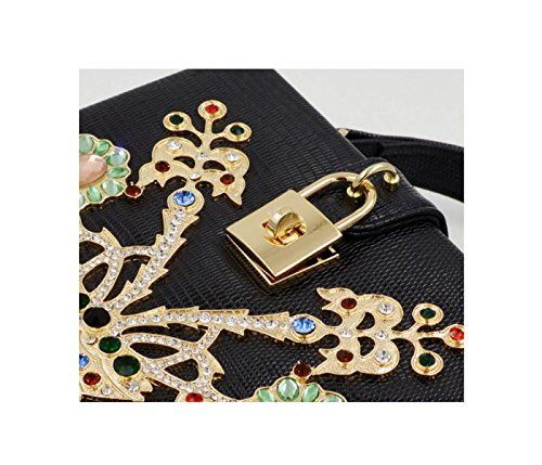 GSHGA Frauen Clutch Bags2 Mode Diamant Box Abendtaschen Handtasche Retro Stil Elegante Tasche,Black Black