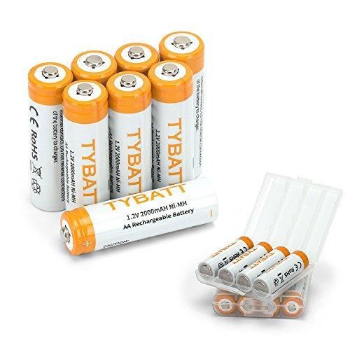 TYBATT Aufladbare AA Akku Batterien 2000mAh NiMh, mit Batterie Aufbewahrungsbox, 1200 Zyklen, 8 Stck (Gps-handheld Benutzt)