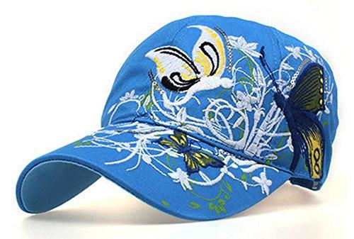 Frauen-Baseball Kappe Mütze-Leichte Kappe mit Schmetterling und Blumen-Stickerei-Sommer-Hut,Blau (Nadelstreifen-hut Baseball)