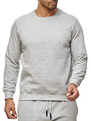 Smith&Solo Herren Kapuzenpullover - Sweatsshirt Pullover Rundhals - Langarm - Slim - Fit - Training - Hoodie - Pulli - Hochwertige Baumwollmischung, Grau-rundhals, M