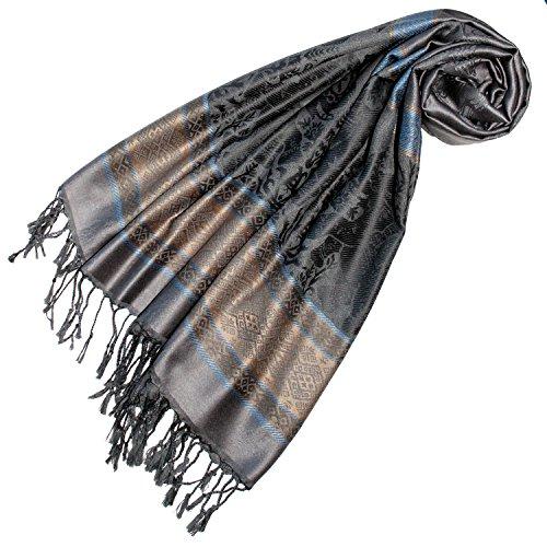 Lorenzo Cana Designer Pashmina hochwertiger Marken Schal jacquard gewebt mit Elefanten Muster Modal Schaltuch 70 x 190 cm Tuch Stola Schal 93254