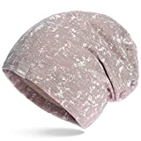 UNIQ Long Beanie Strickmütze Damen Mütze Oversize Slouch | Atmungsaktiv | Baumwolle | für das ganze Jahr | Vintage Batik Look mint - hellbraun